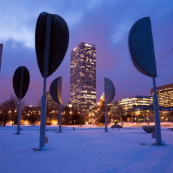 Milwaukee, Wisconsin, USA - February 23, 2010: Metal trees by the Discovery World in downtown Milwaukee, Wisconsin. Seen winter evening.